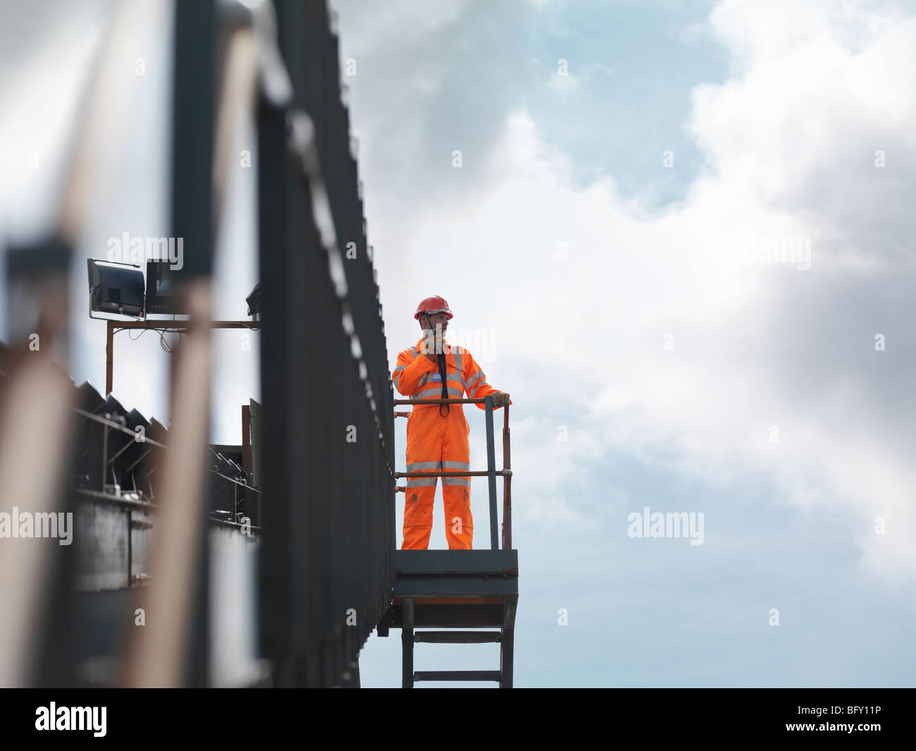 Coal Worker On Viewing Platform - Stock Image