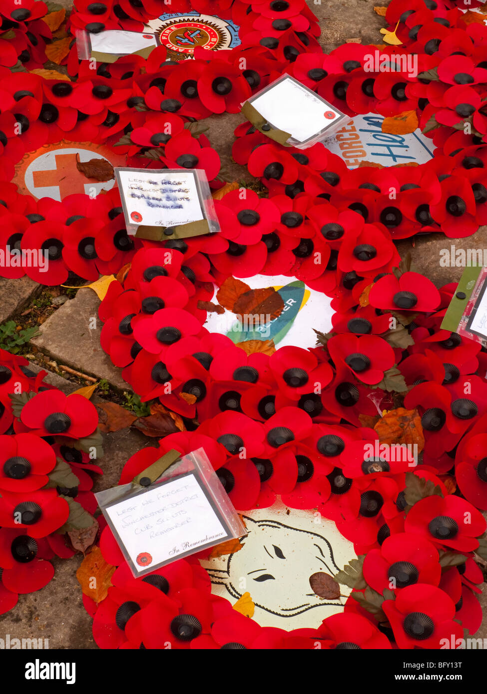 Detail of poppy wreathes to commemorate fallen service personnel on Remembrance Sunday in November in the UK - Stock Image