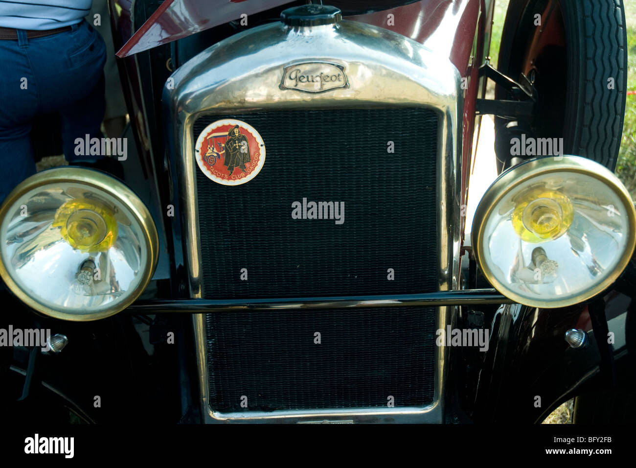 A gleaming vintage Peugeot car displayed at the Gascogne Expo fair in Auch - Stock Image