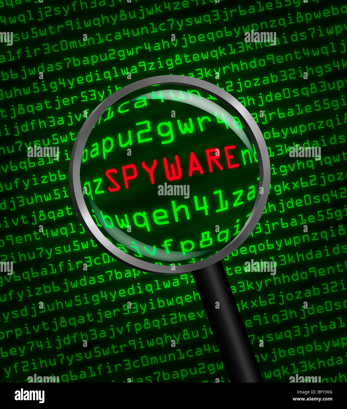 Magnifying glass locating spyware in computer machine code - Stock Image
