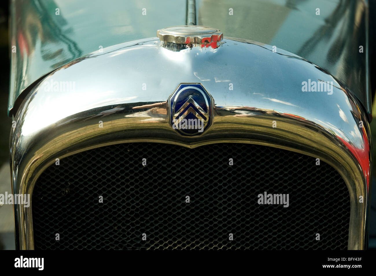 A gleaming vintage Citroen car from the 1920s displayed at the Gascogne Expo fair in Auch - Stock Image