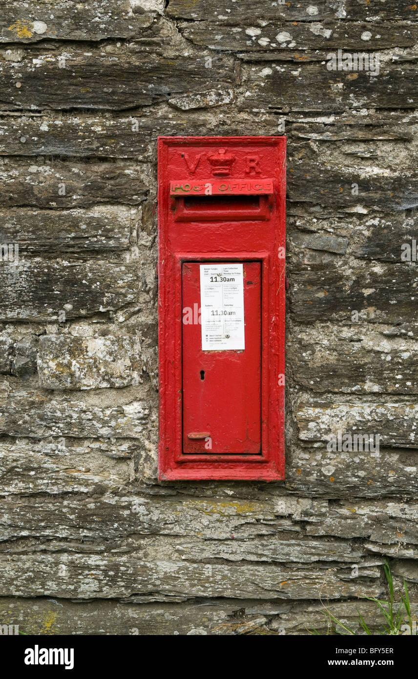 Victorian post box, Abergwesyn, Mid-Wales. Stock Photo