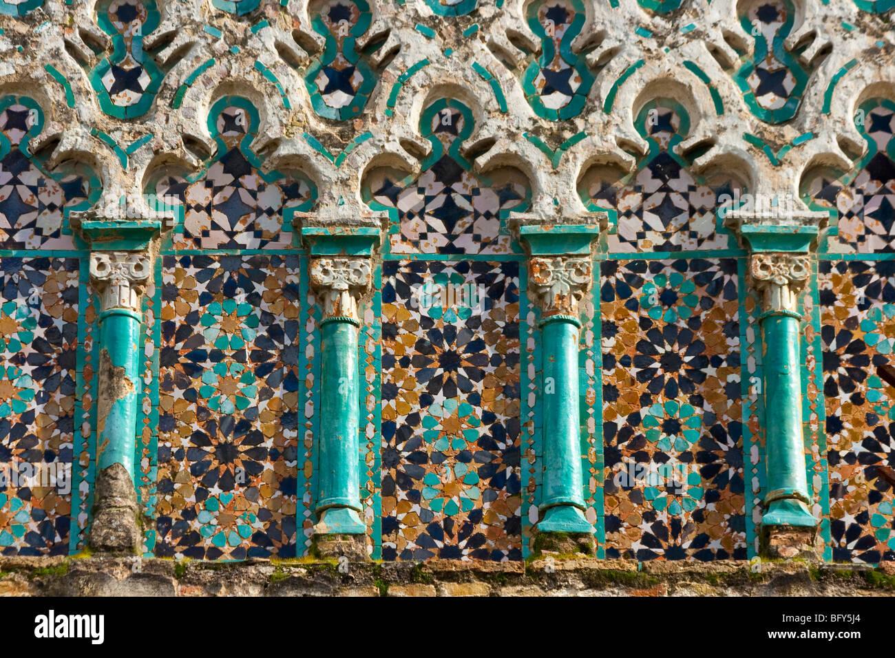 islamic architecture on el djedid mosque in fez morocco stock photo