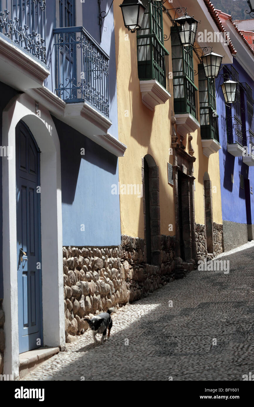 Colonial architecture in Calle Jaen , the best preserved colonial street in La Paz , Bolivia - Stock Image