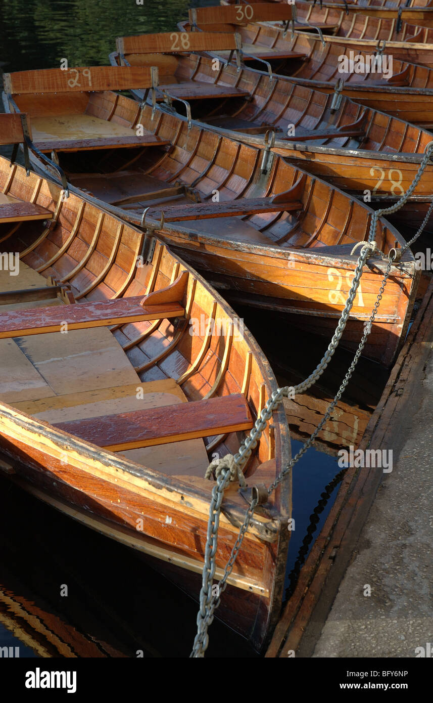rowing boats moored on the River Wear, Durham, County Durham, North East England, UK - Stock Image
