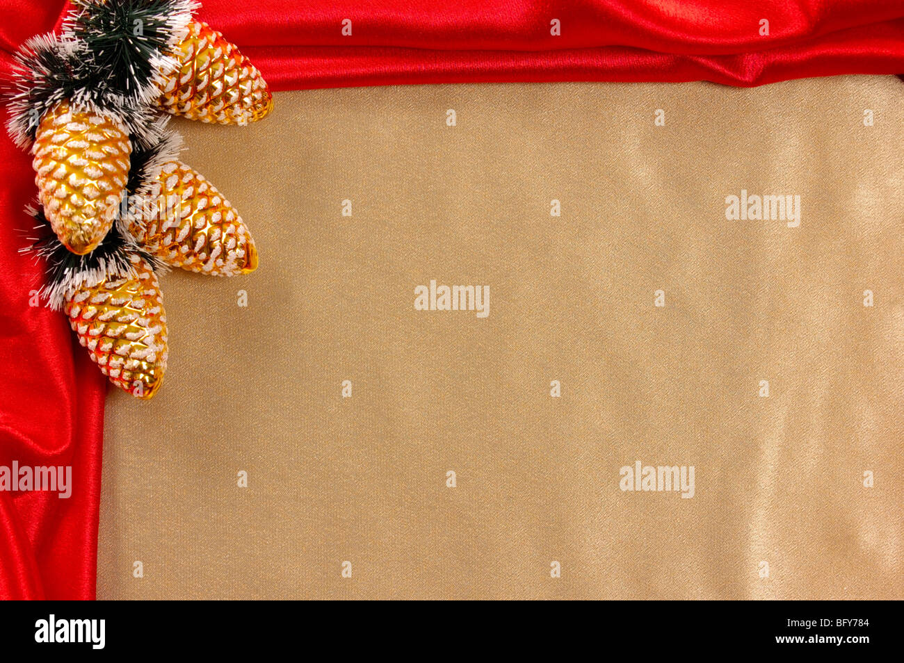 Golden-red decorative christmas frame Stock Photo