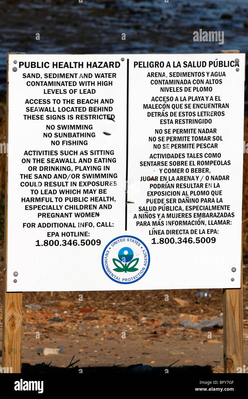 USA Environmental Protection Agency sign warning of a Public Health Hazard due to lead contamination - Stock Image