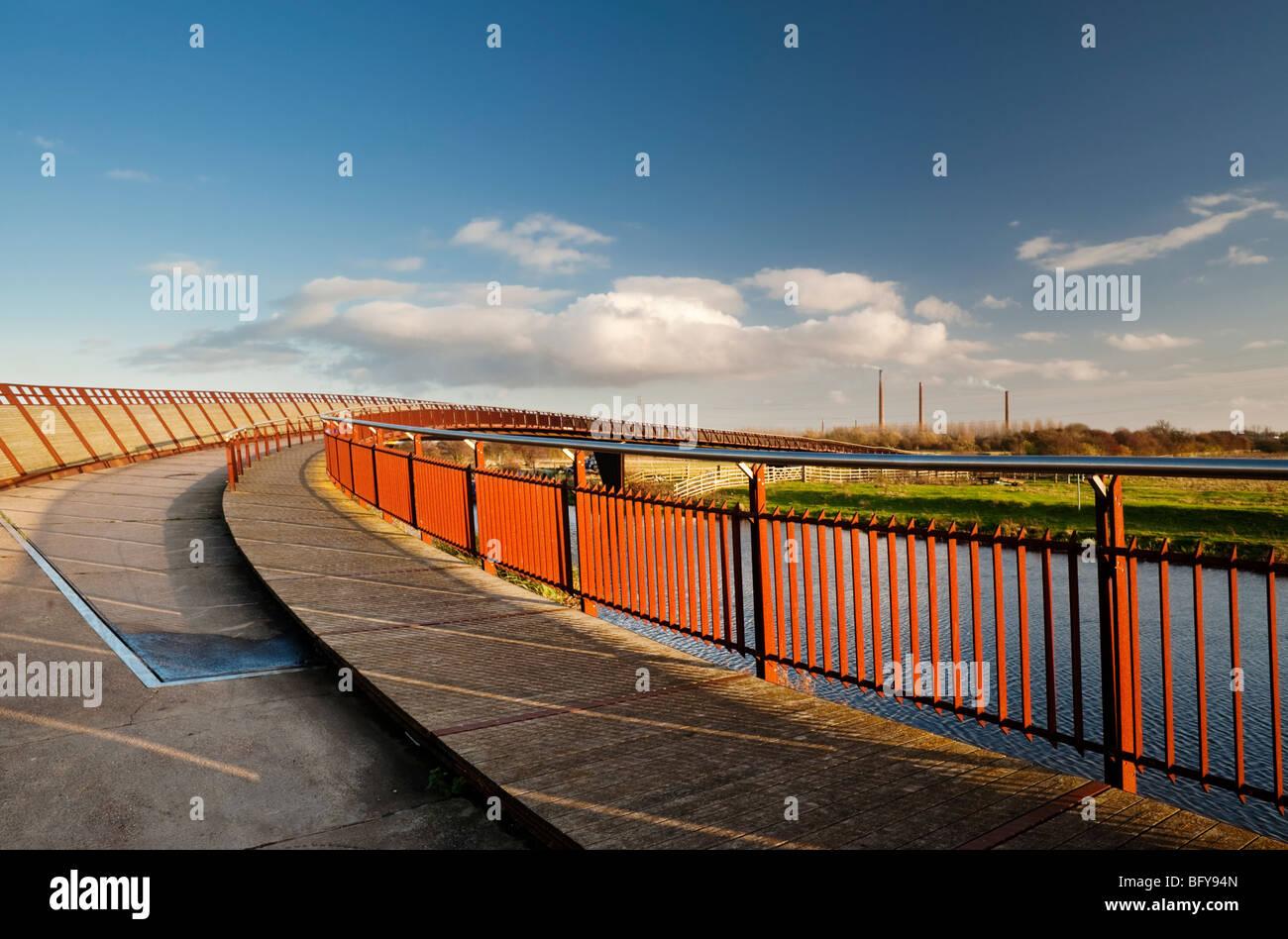 Shanks Millennium Bridge over the River Nene, east of Peterborough, Cambridgeshire, England - Stock Image