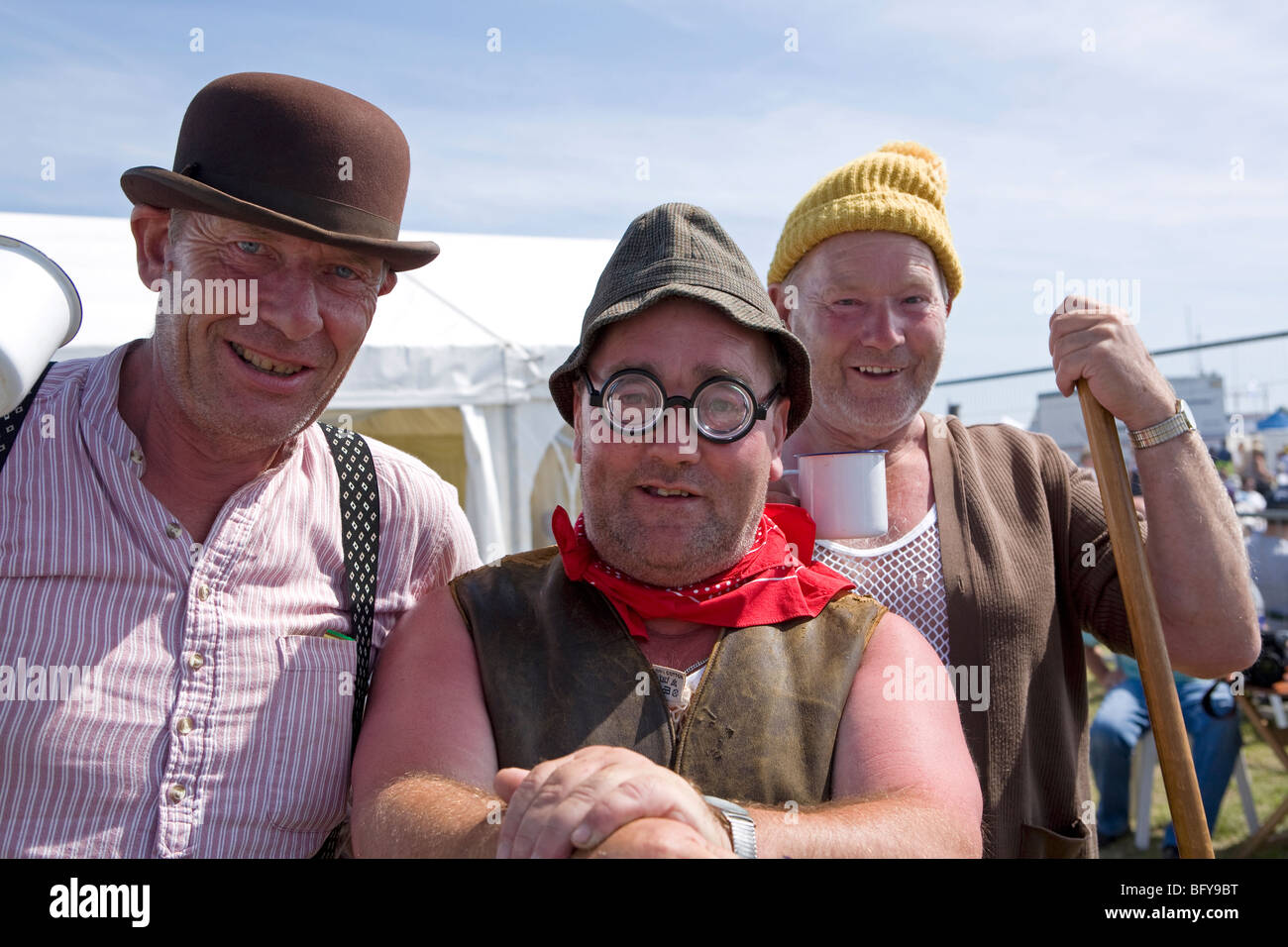 Comedy trio dressed as roadmenders at Shoreham Airshow, Shoreham Airport, Sussex, England Stock Photo