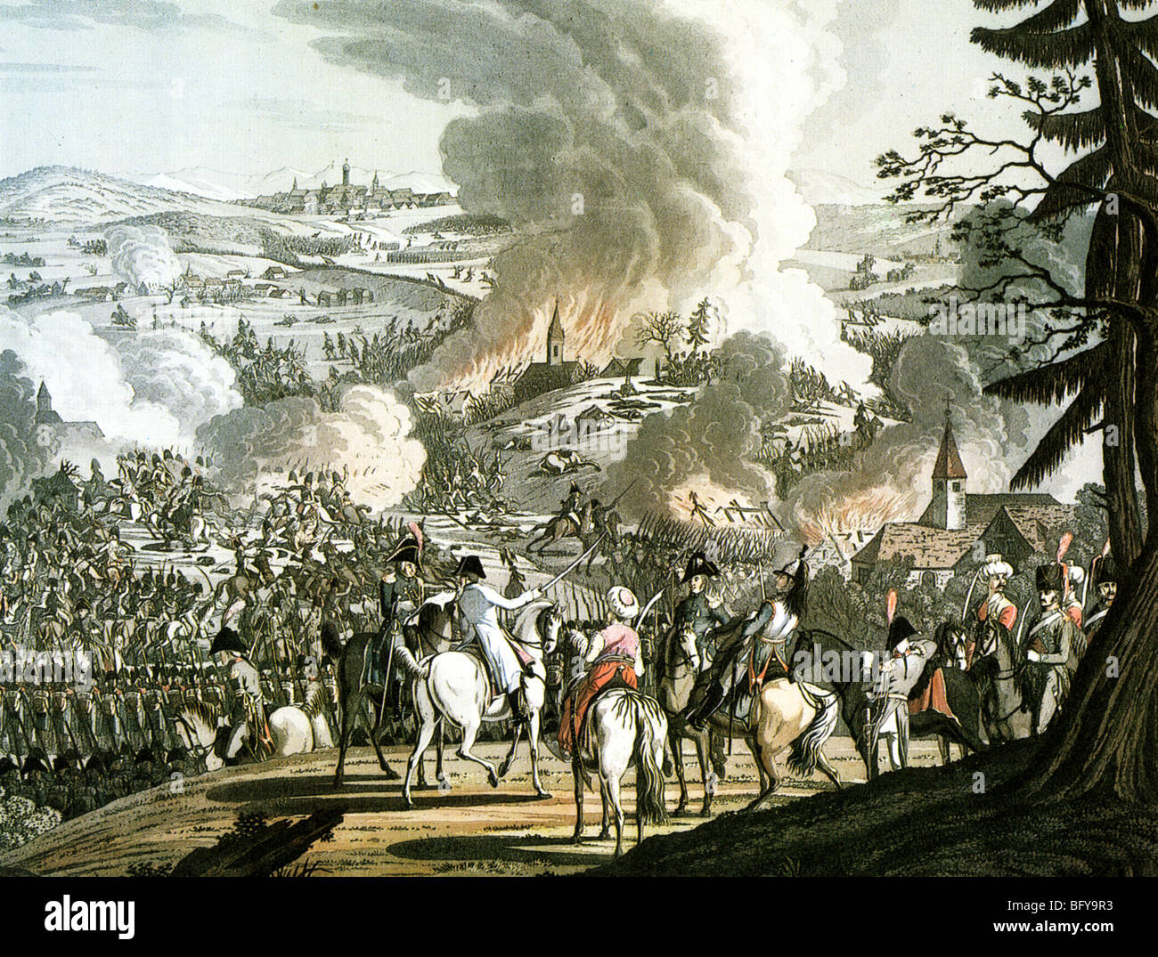 BATTLE OF AUSTERLITZ  2 December 1805. Napoleon lower centre on white horse with turbanded bodygards - Stock Image
