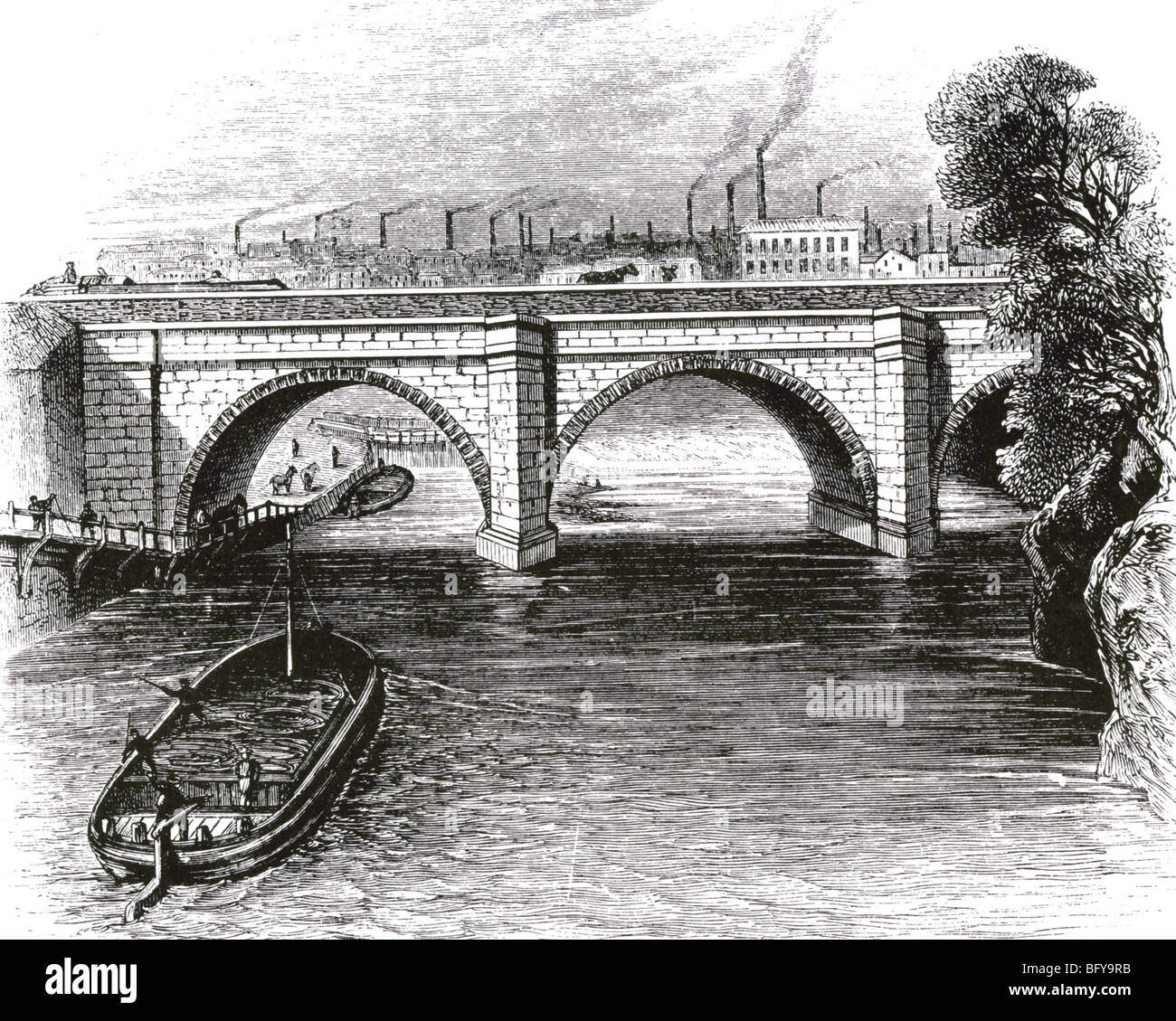 BARTON AQUEDUCT built by James Brindley in 1761 to carry his Bridgewater  Canal over the River Irwell just outside Manchester.