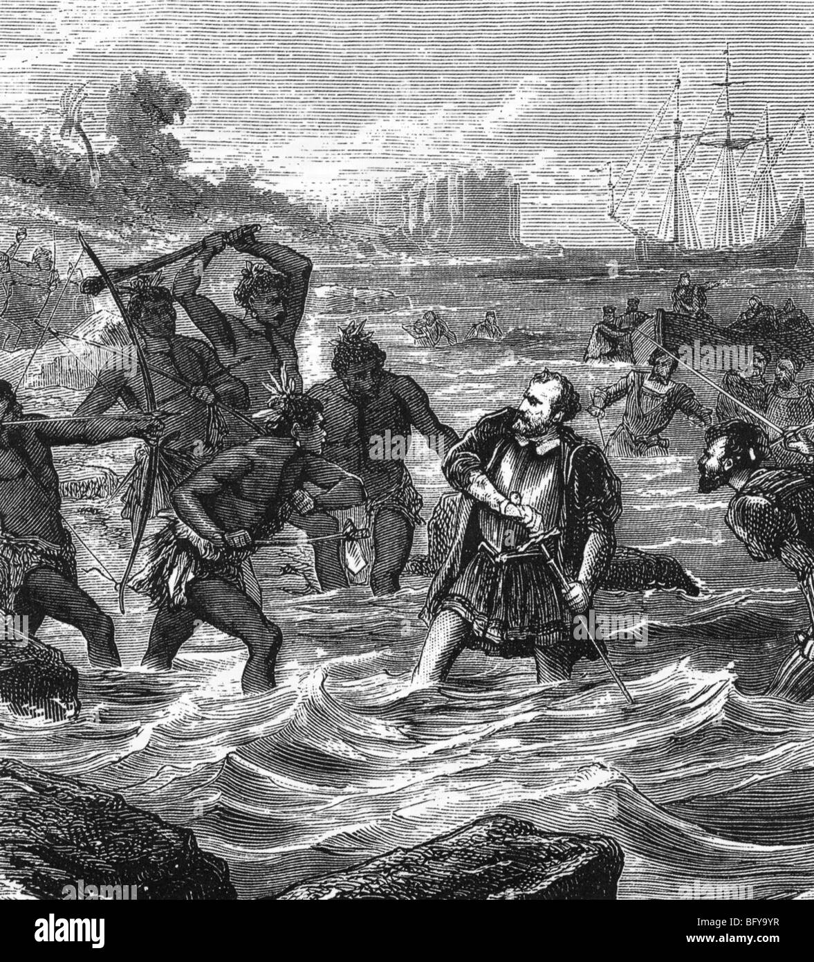 FERDINAND MAGELLAN Portugese navigator (c1480-1521) is killed in the Philippines. 19th century engraving - Stock Image