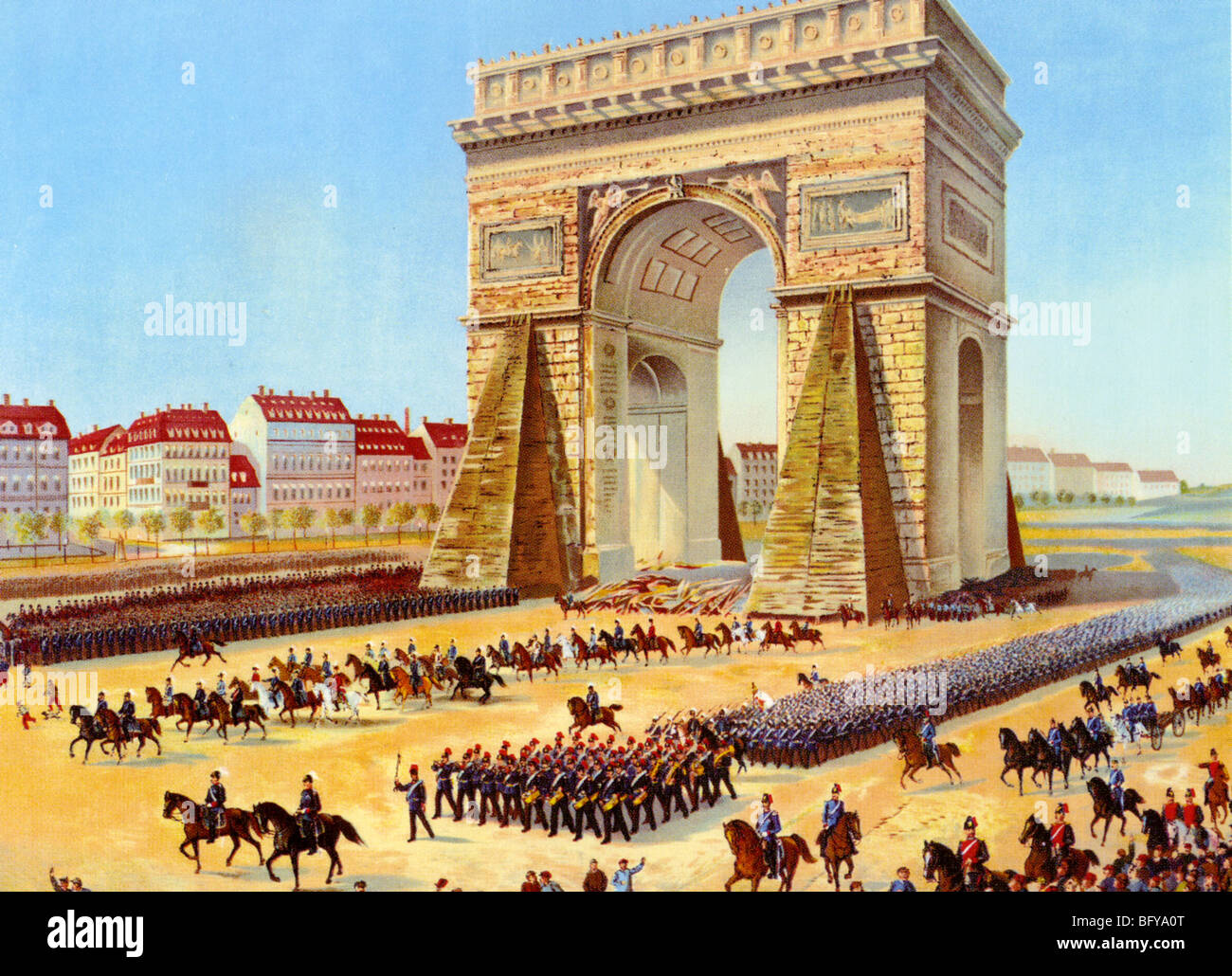 FRANCO-PRUSSIAN WAR - Victorious German troops march past the Arc de Triumph in Paris on 28 January 1871 - Stock Image