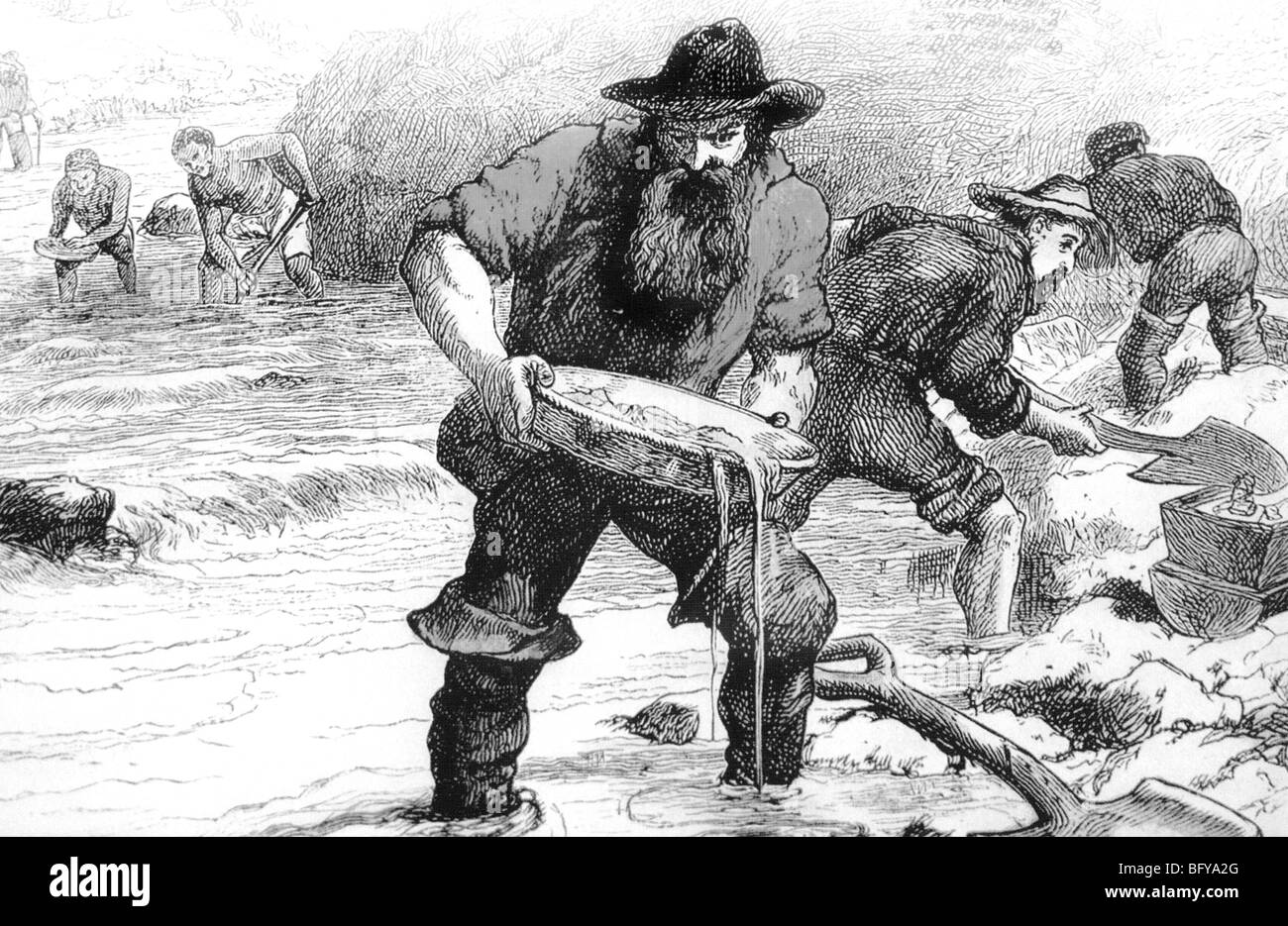 PANNING FOR GOLD during the California gold rush in 1849 - Stock Image