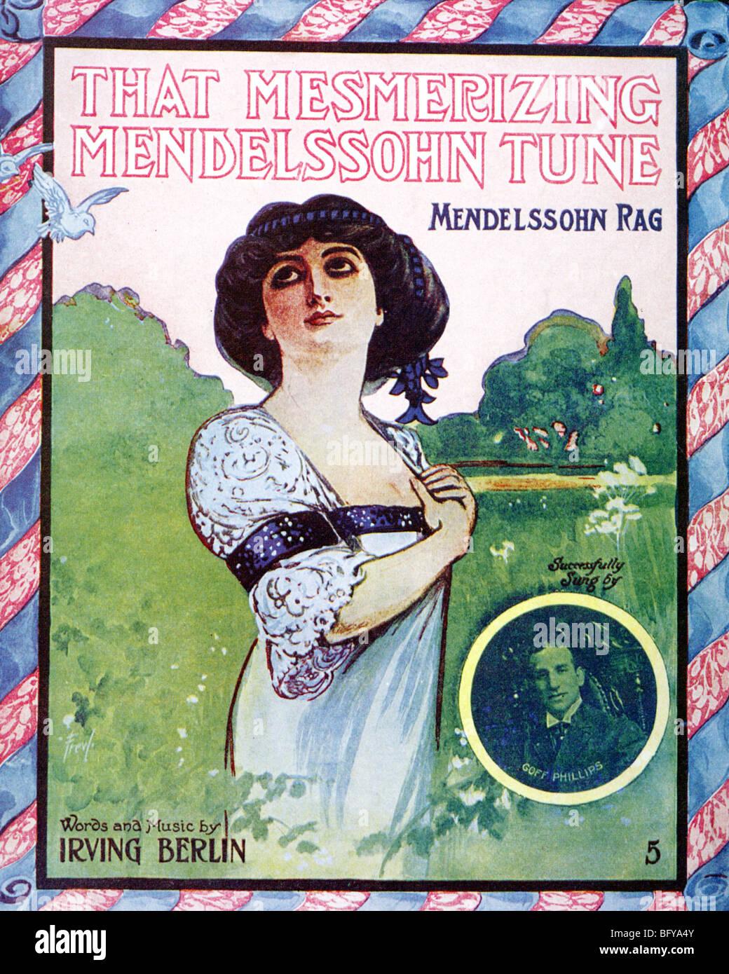 IRVING BERLIN  Sheet music for his 1909 ragtime composition That Mesmerizing Mendelssohn Tune - Stock Image