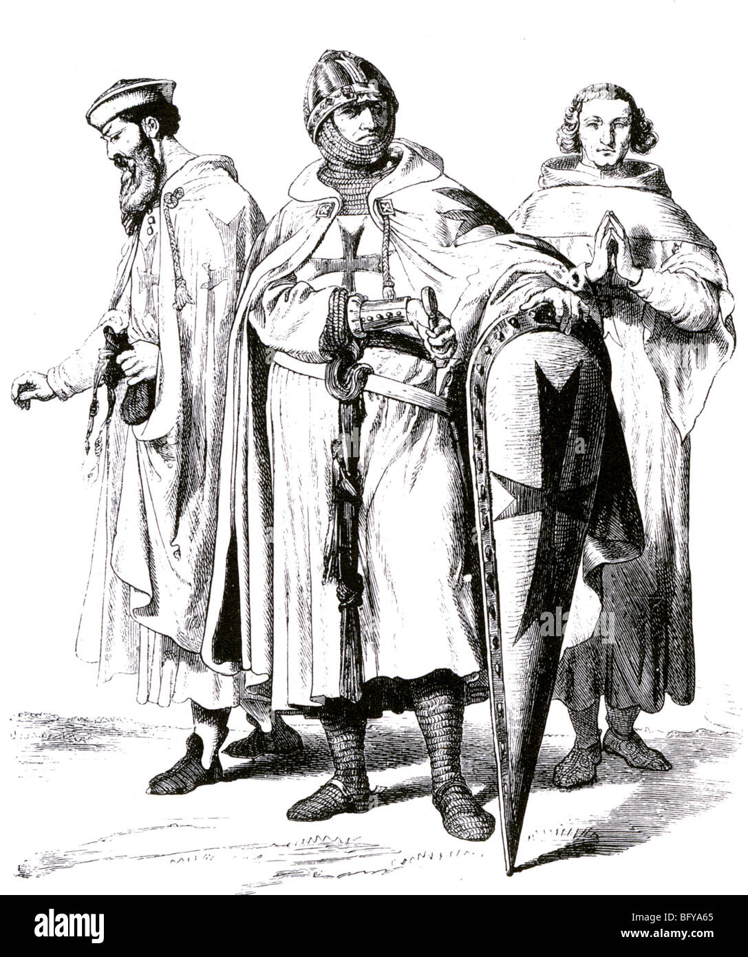 KNIGHTS TEMPLAR as shown in a Victorian illustration - Stock Image