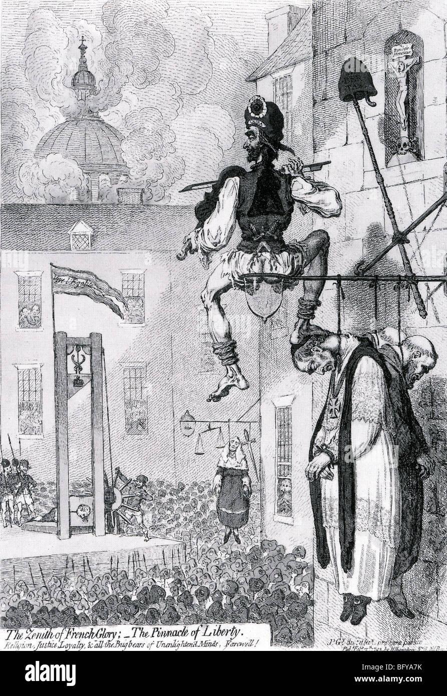 EXECUTION OF LOUIS XVI on 21 January 1793 as satirised by James Gilray - Stock Image