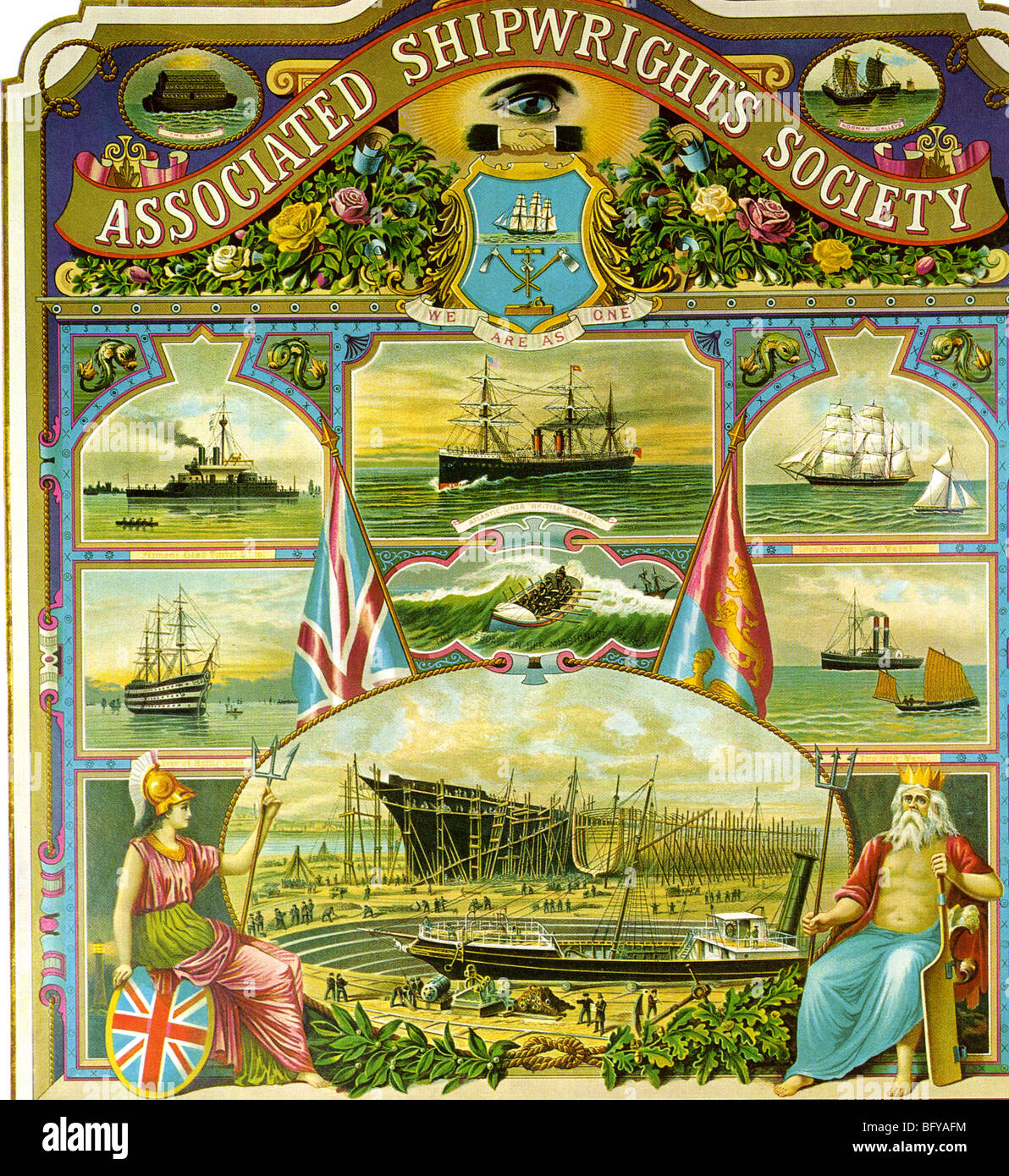 ASSOCIATED SHIPWRIGHTS SOCIETY - Membership form of a Victorian trade union formed in 1882 - Stock Image