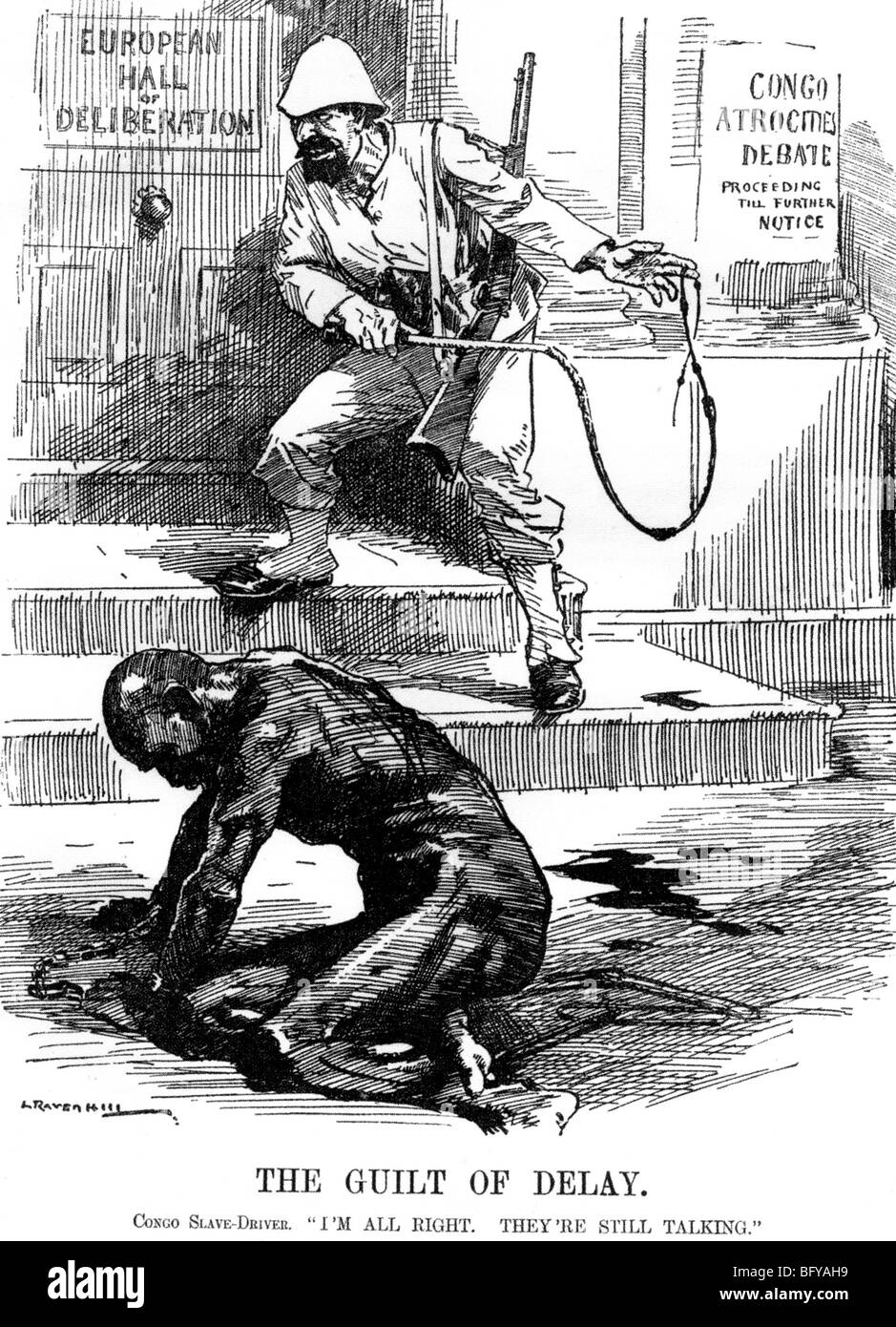 SLAVERY IN THE CONGO  British cartoon criticises delay in outlawing slavery in the Belgian Congo - Stock Image