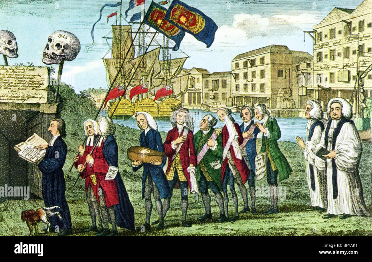 REPEAL OF THE STAMP ACT on 17 March 1766 is mourned by the English who  profited from it in this contemporary cartoon
