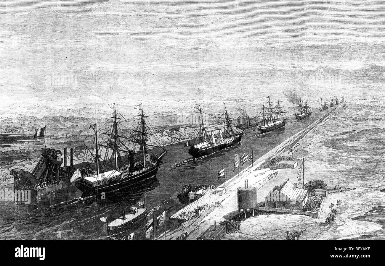 OPENING OF THE SUEZ CANAL 17 November 1869. French and Egyptian ships move southwards past a steam dredger. - Stock Image