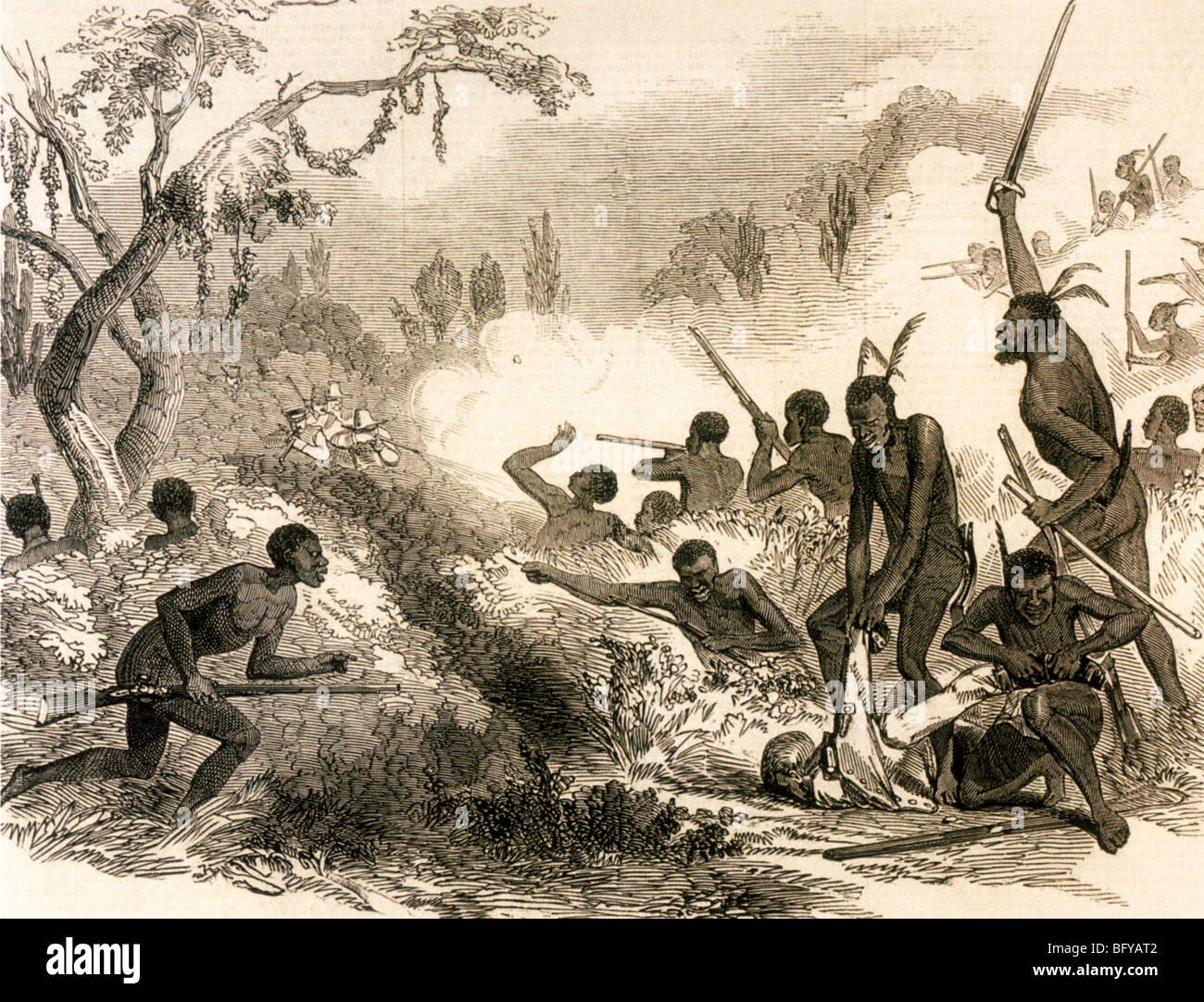 XHOSA tribesmen ambush British troops in one of the Cape Frontier Wars also known as the Kaffir Wars in the mid - Stock Image