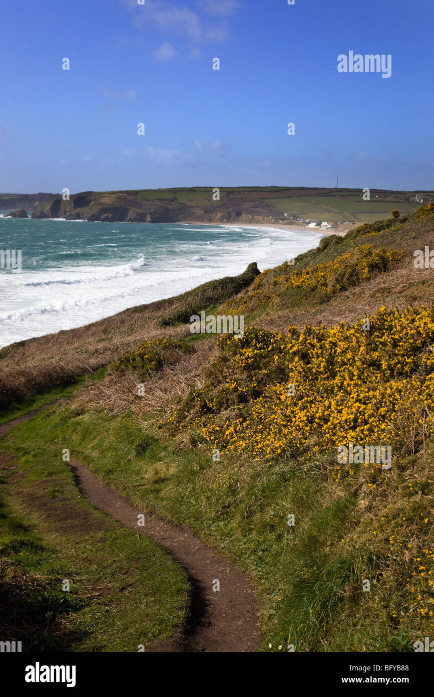Praa Sands beach from Rinsey Head; Cornwall - Stock Image