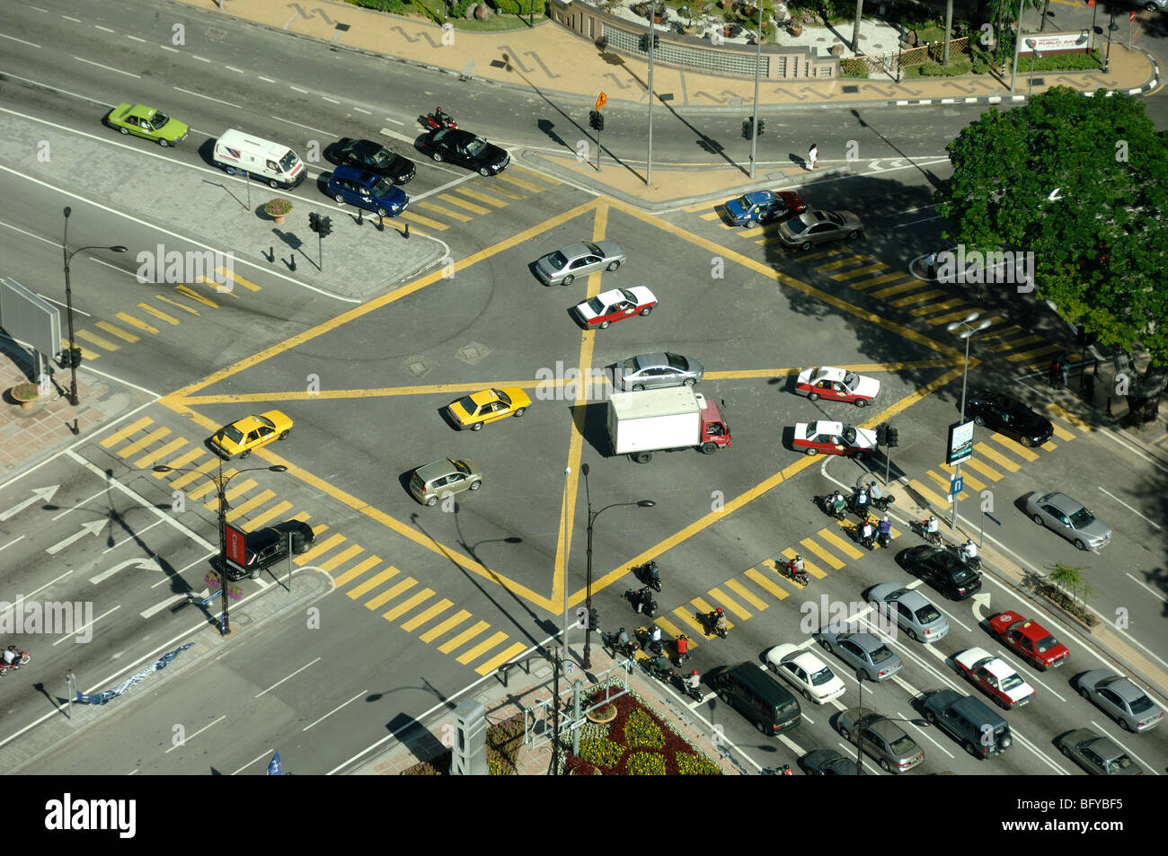 Aerial View of Road Junction, Crossroads or Traffic Intersection, KLCC or Kuala Lumpur City Centre, Kuala Lumpur, - Stock Image