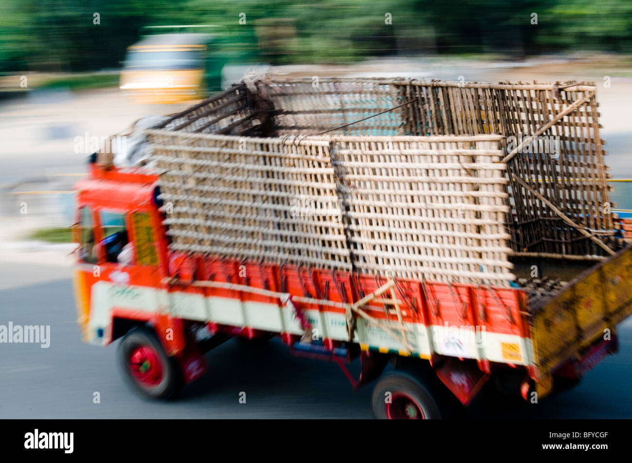 Truck, motion blur, India - Stock Image