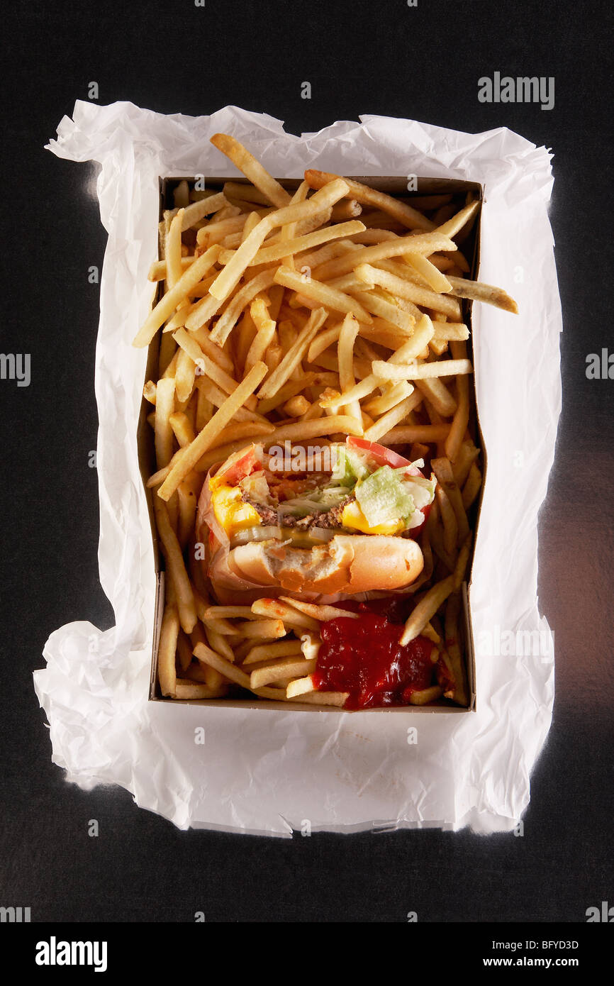 Fast food in take out box on paper bag - Stock Image