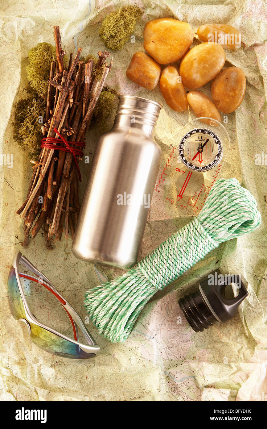 Basic equipment for a day hike - Stock Image