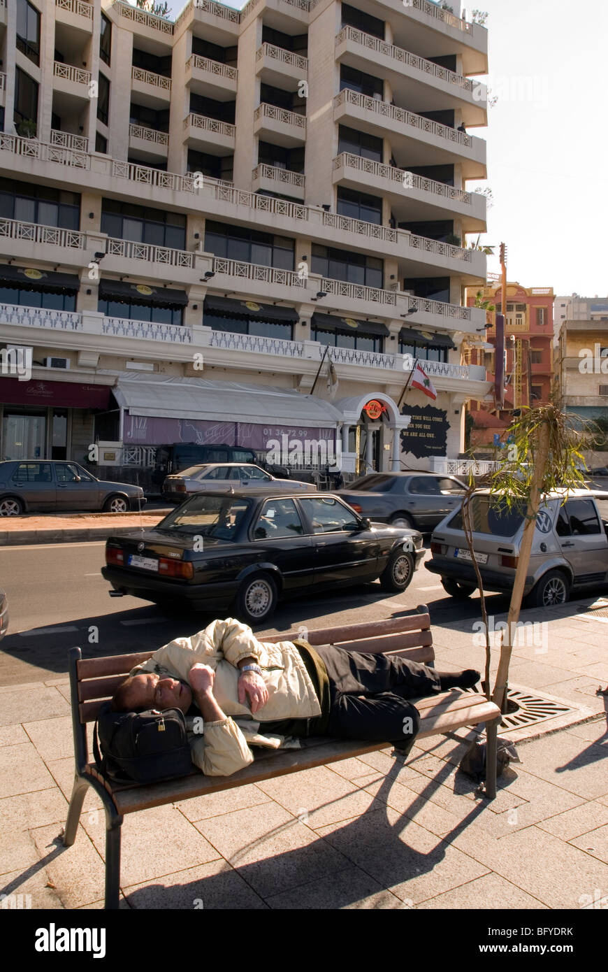homeless having a deep sleep at Beirut cornice Lebanon - Stock Image