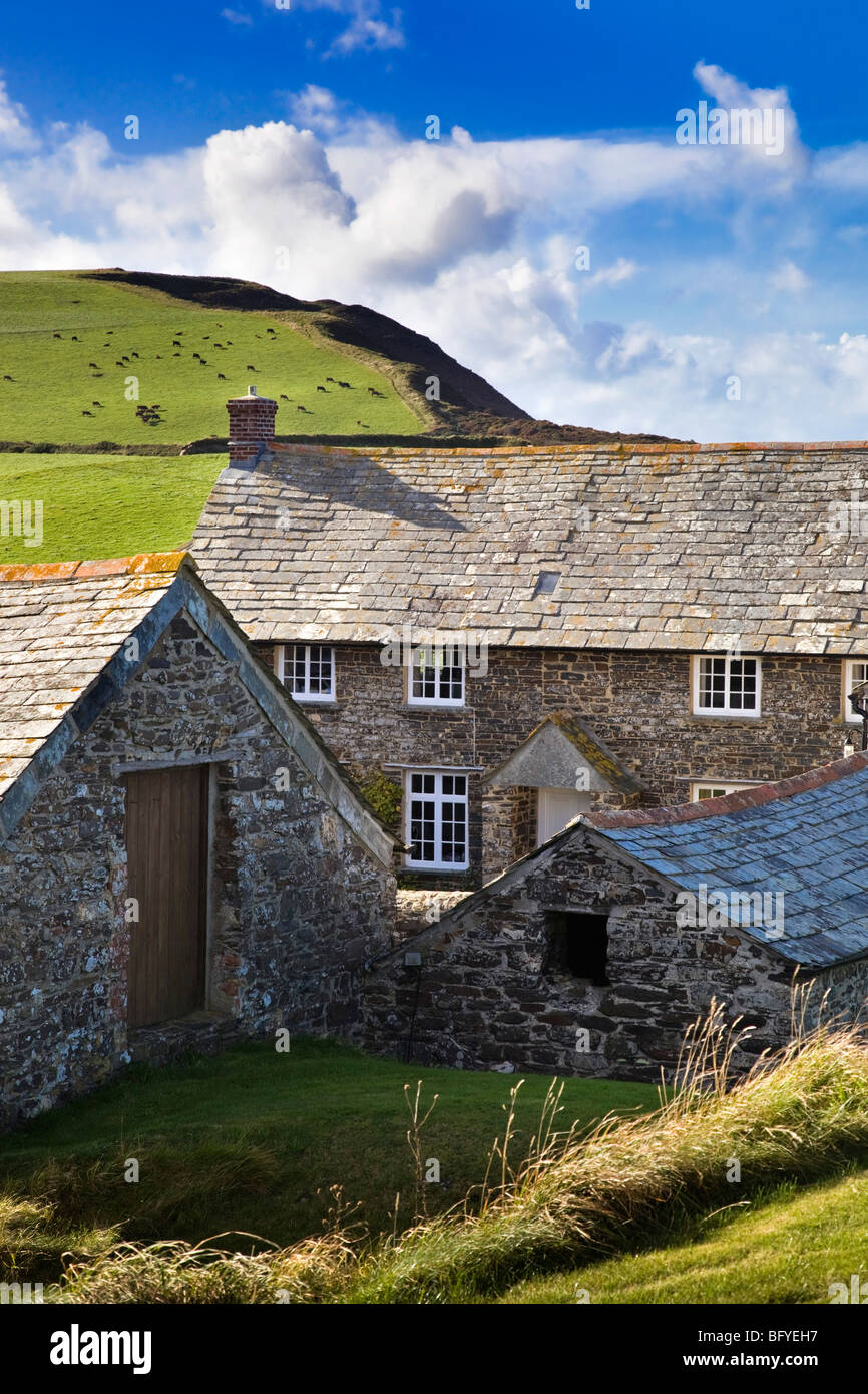 Trevigue farmhouse; Near Crackington Haven; Cornwall - Stock Image