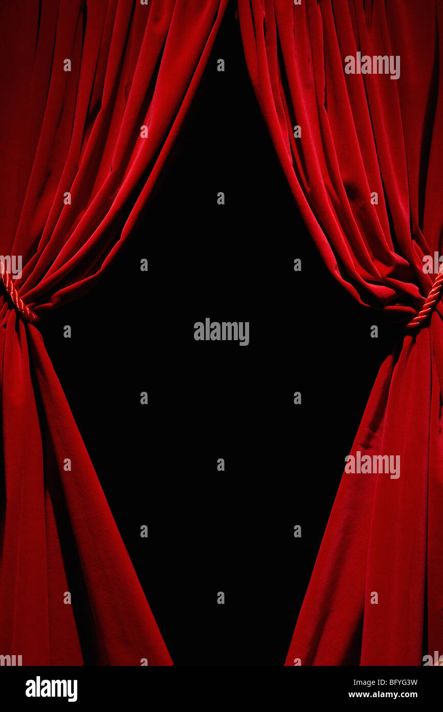 Red velvet curtains - Stock Image