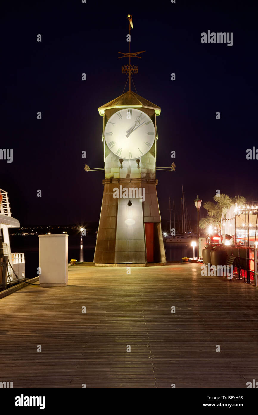 Clock on Aker Brygge by Oslo Harbour - Stock Image