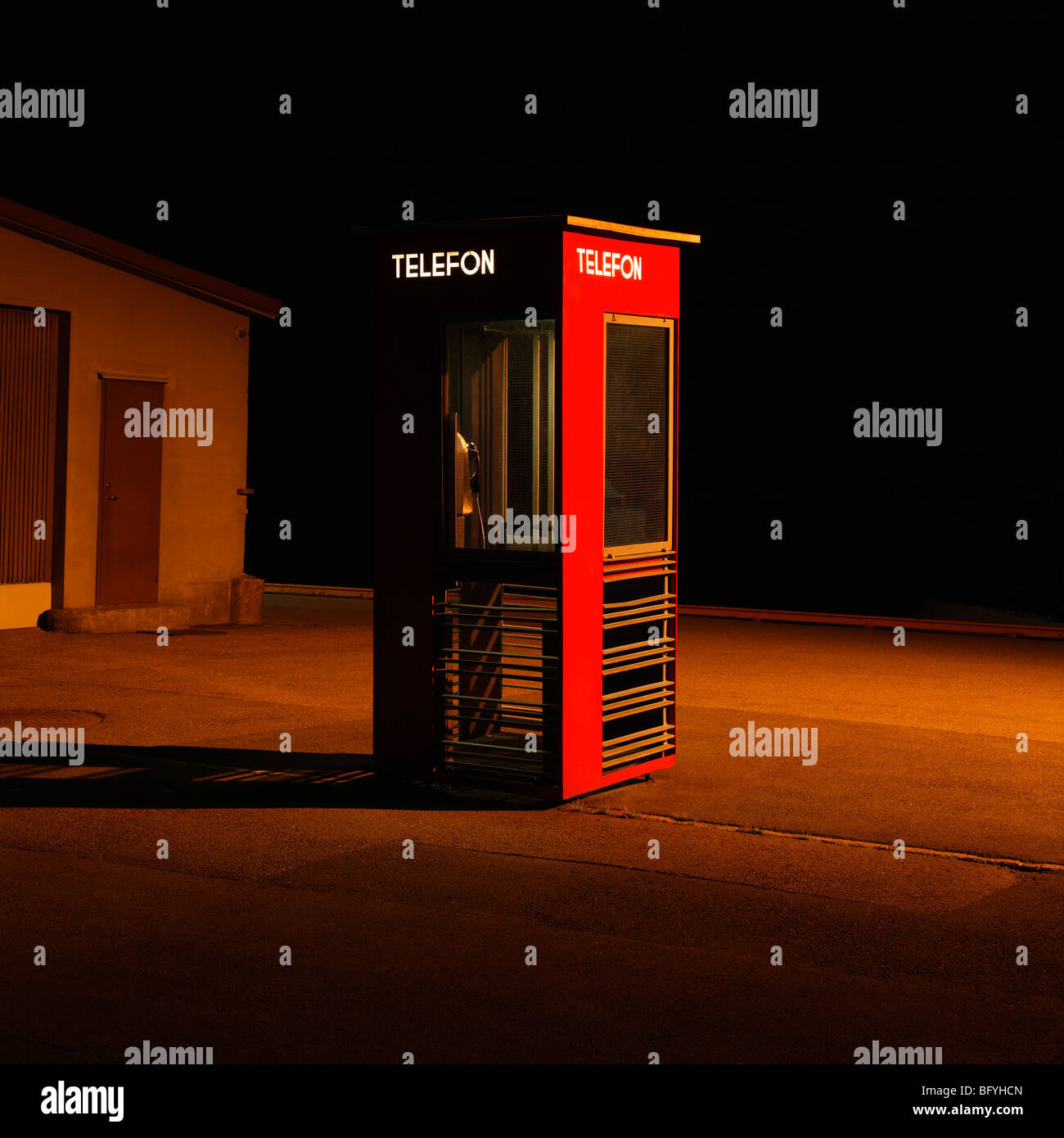 Norwegian telephone box - Stock Image