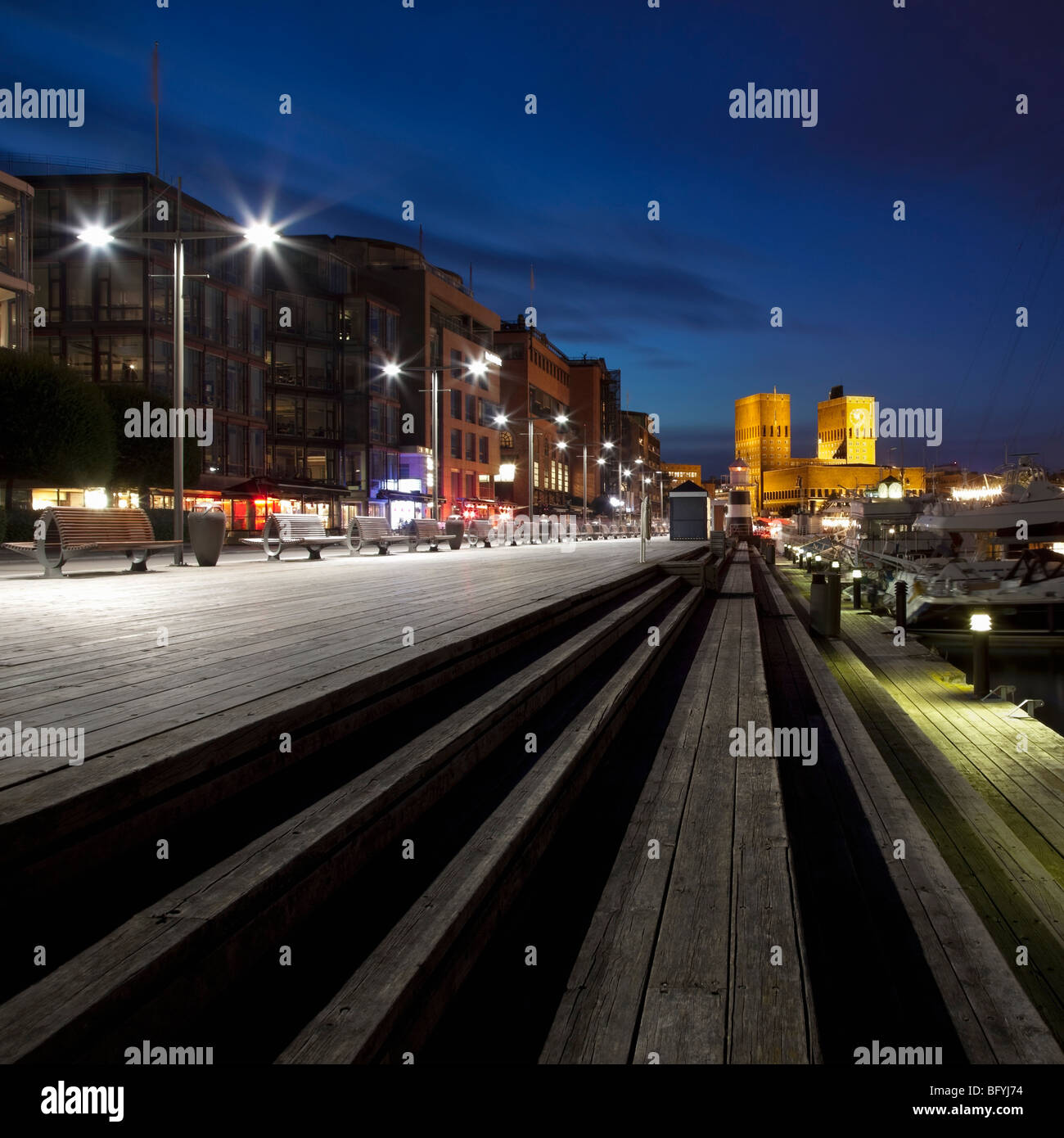Aker Brygge and Oslo City Hall Stock Photo