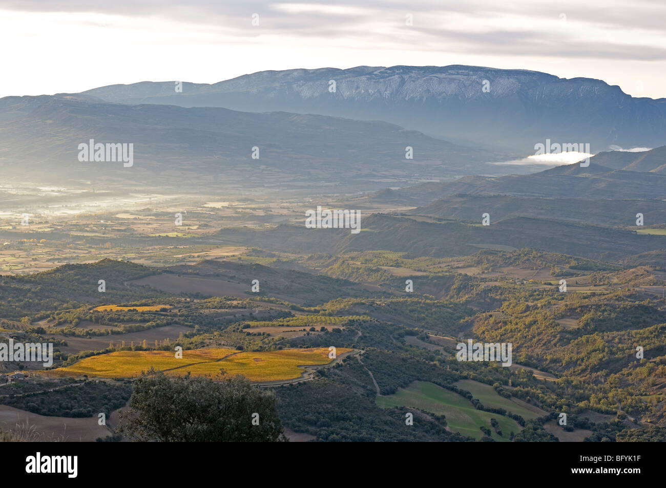 Dawn breaking over the Catalonian Pyrenees, near town of Tremp. Spain. Stock Photo
