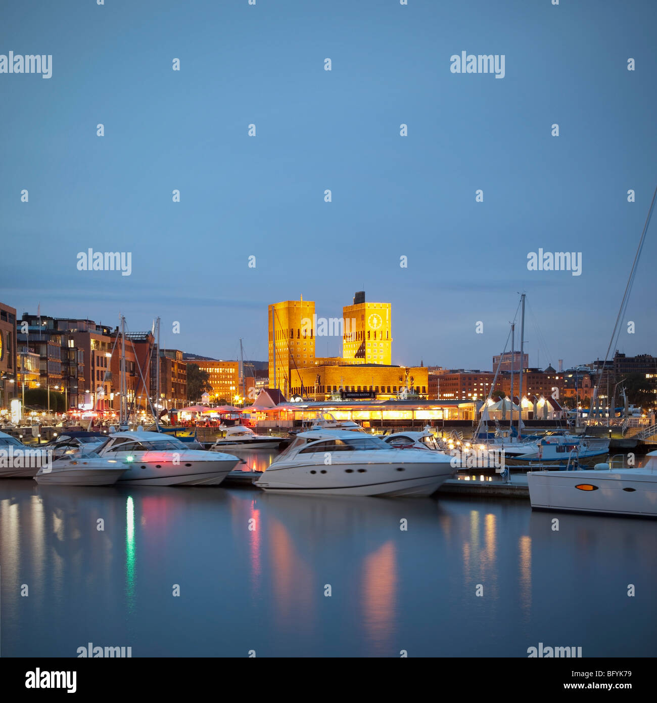 Oslo City Hall and Harbour - Stock Image