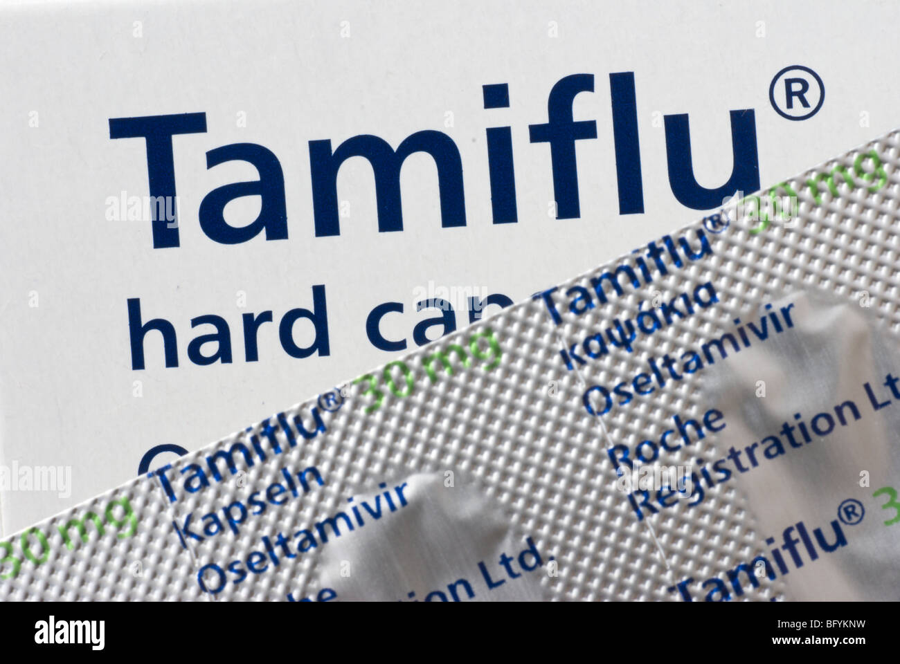 Packaging for the anti-viral drug, Tamiflu. - Stock Image