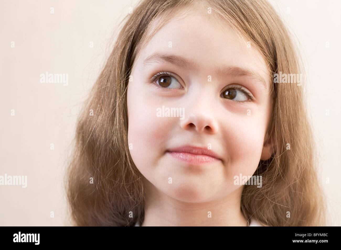 headshot of young girl - Stock Image