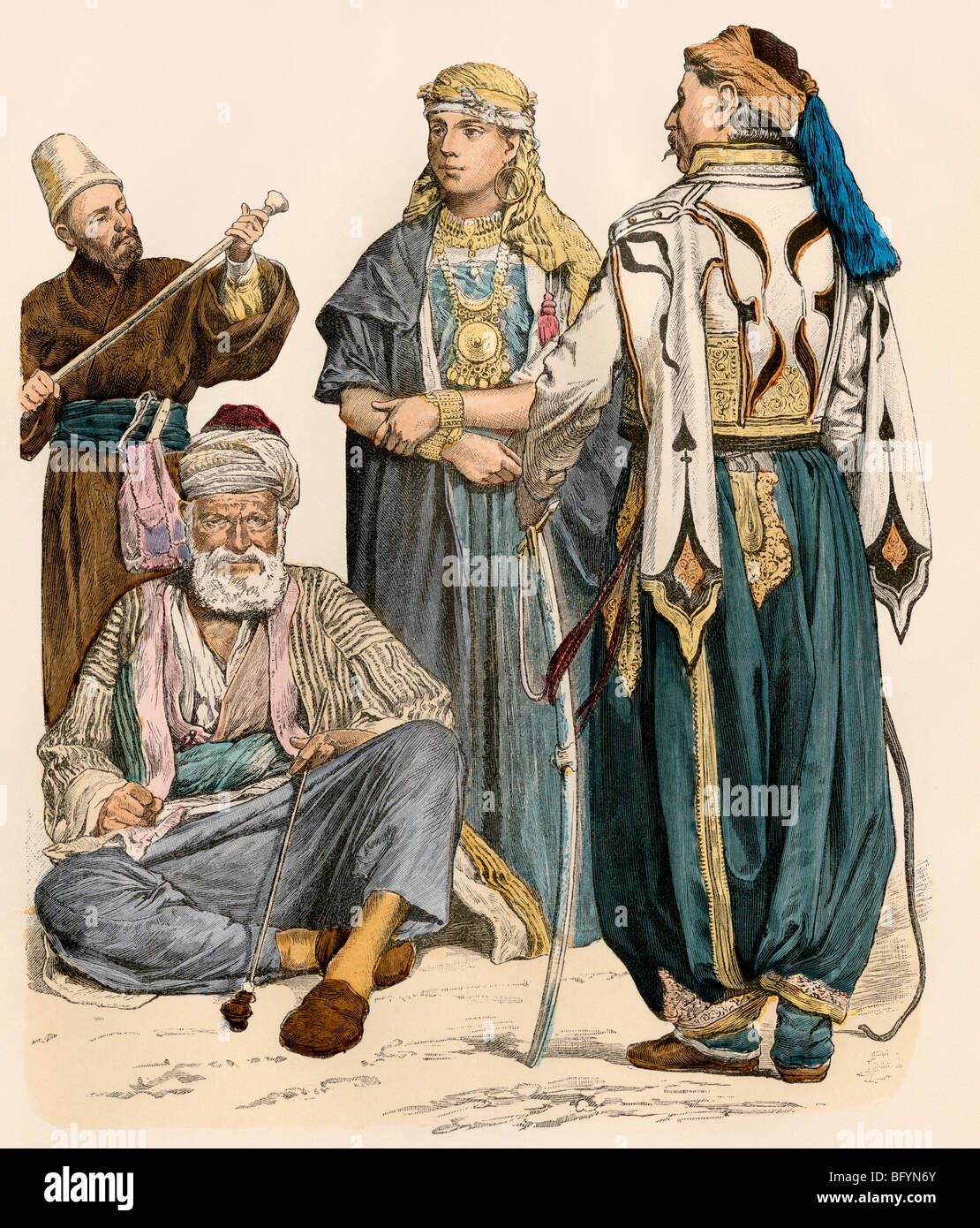 People of Syria, including a Druze woman and a dervish (left rear). Hand-colored print - Stock Image