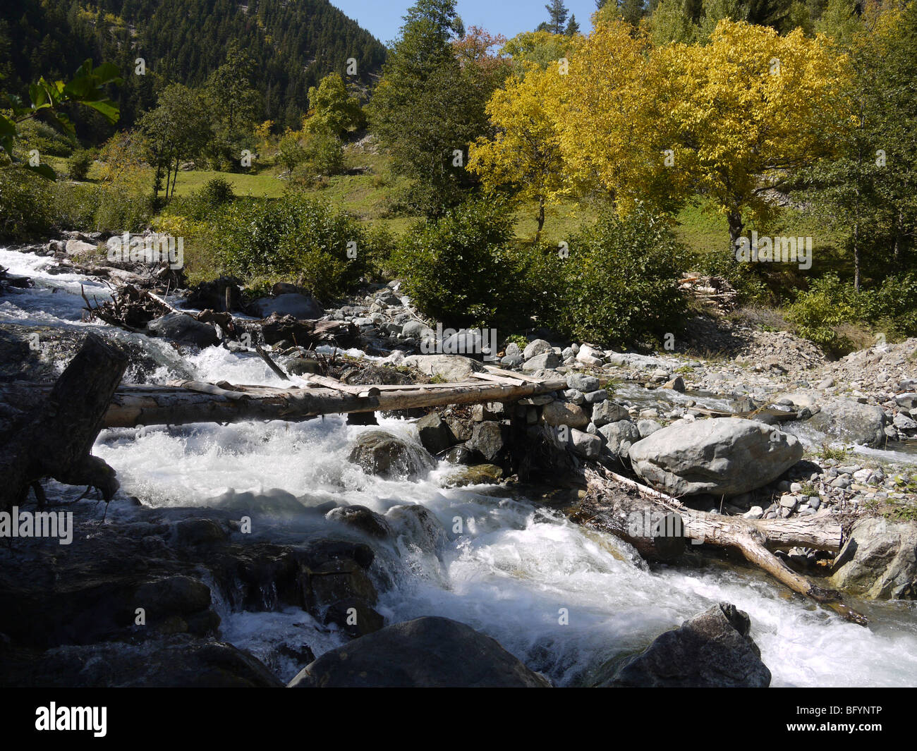 Turkey, Pontic Mountains range, A stream flows down the mountain - Stock Image