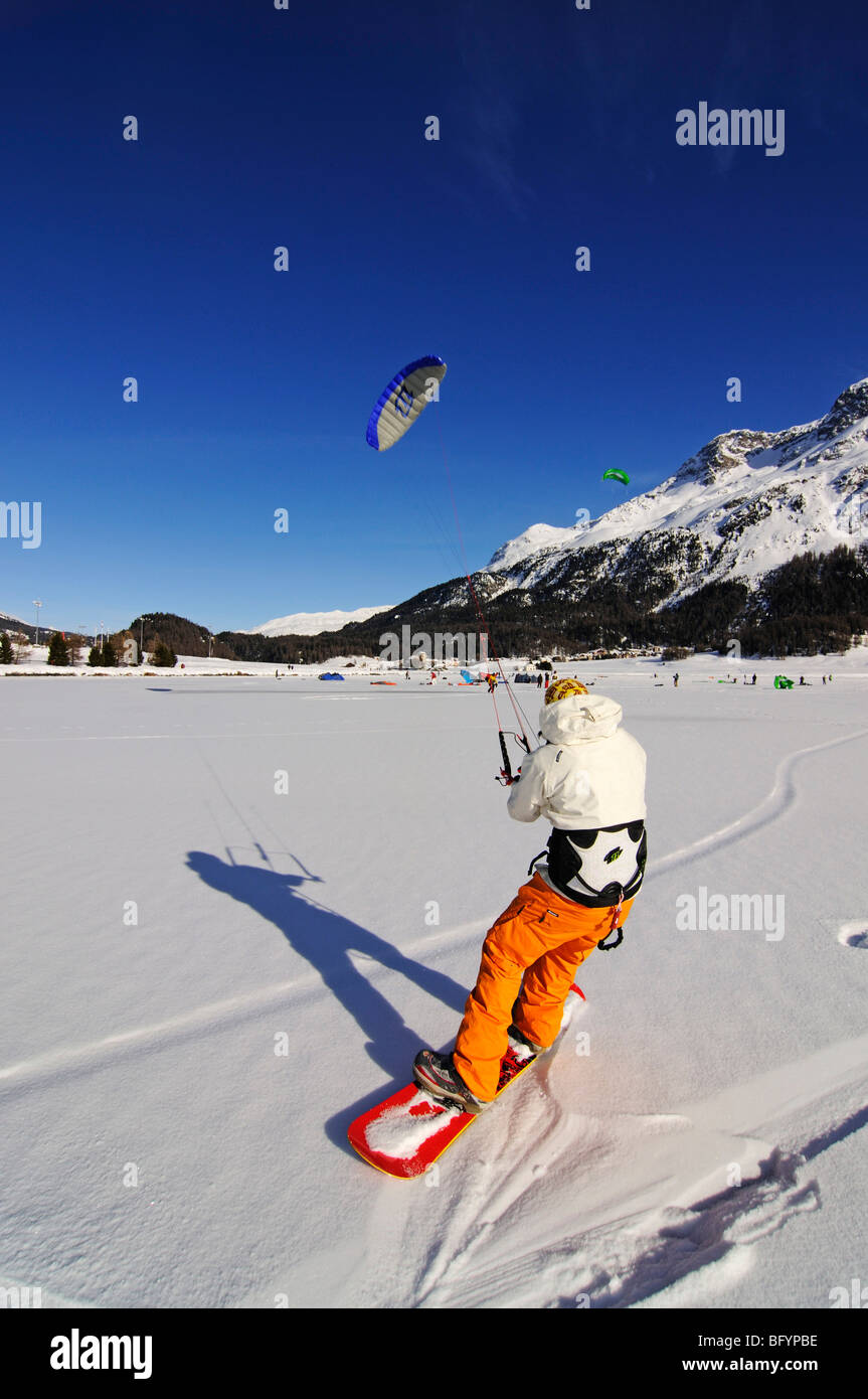 Snowkiting, Lake Silvaplana, St. Moritz, canton of Grisons, Switzerland, Europe - Stock Image