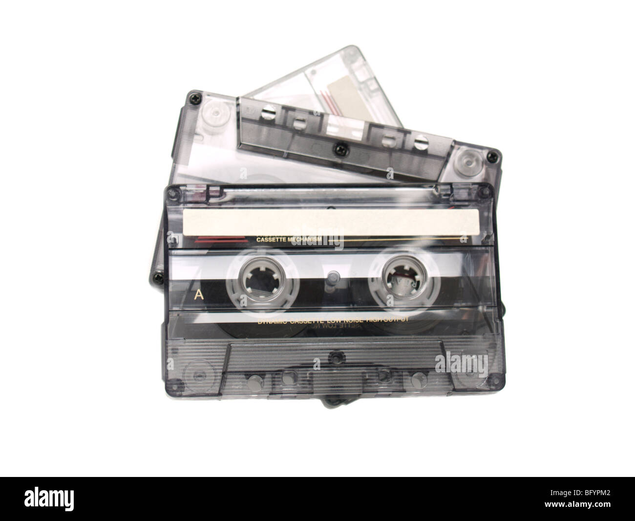 Three recordable audio tapes. Isolated over white. - Stock Image