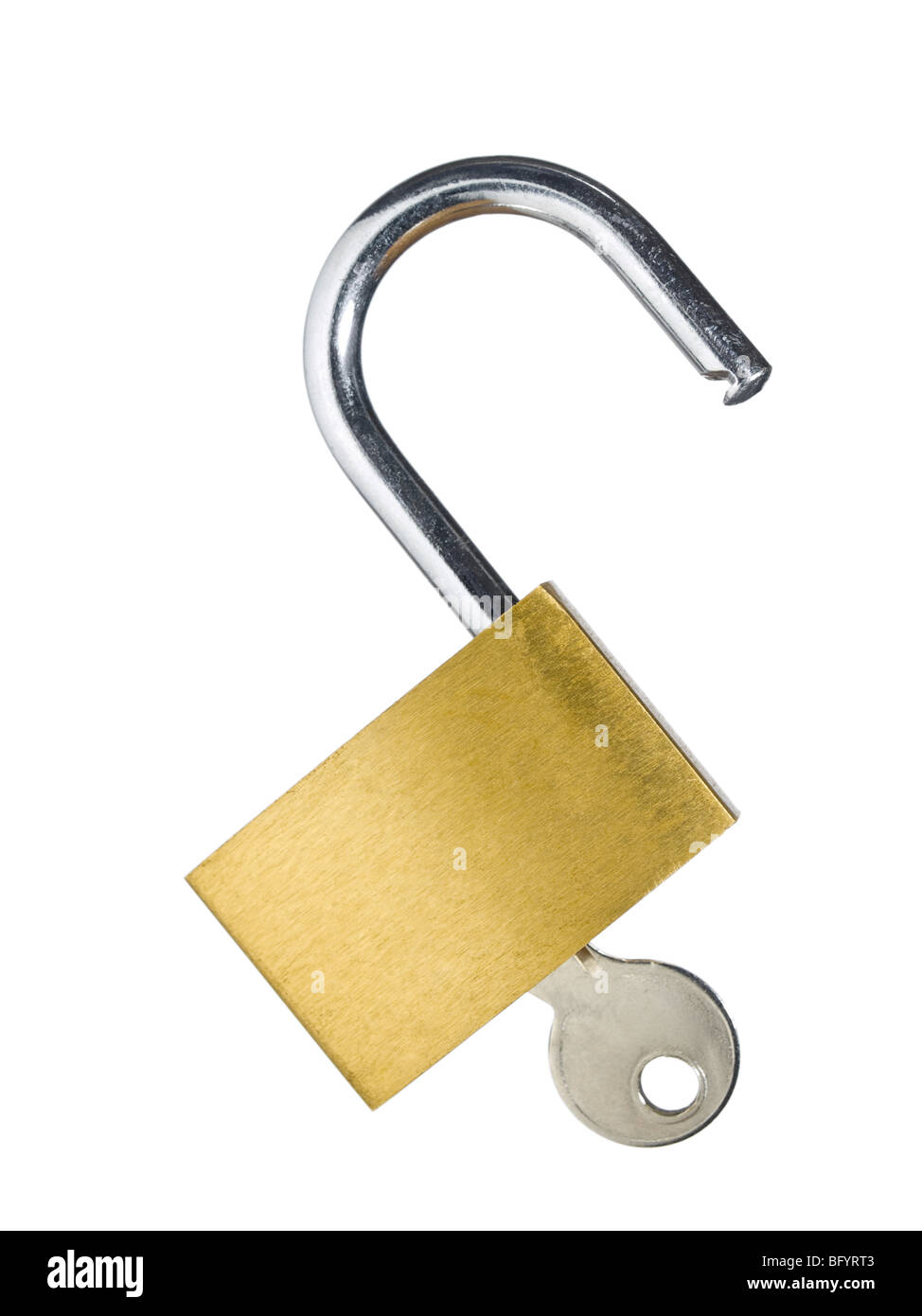 An open lock with a key isolated on white background. Stock Photo