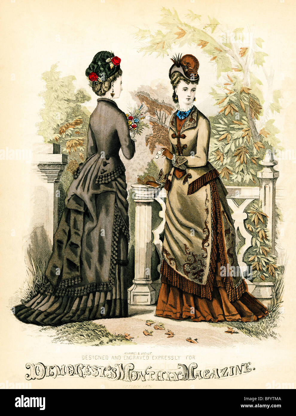 Demorests, October 1874, engraving from the American monthly ladies fashion magazine famous for dressmaking patterns - Stock Image