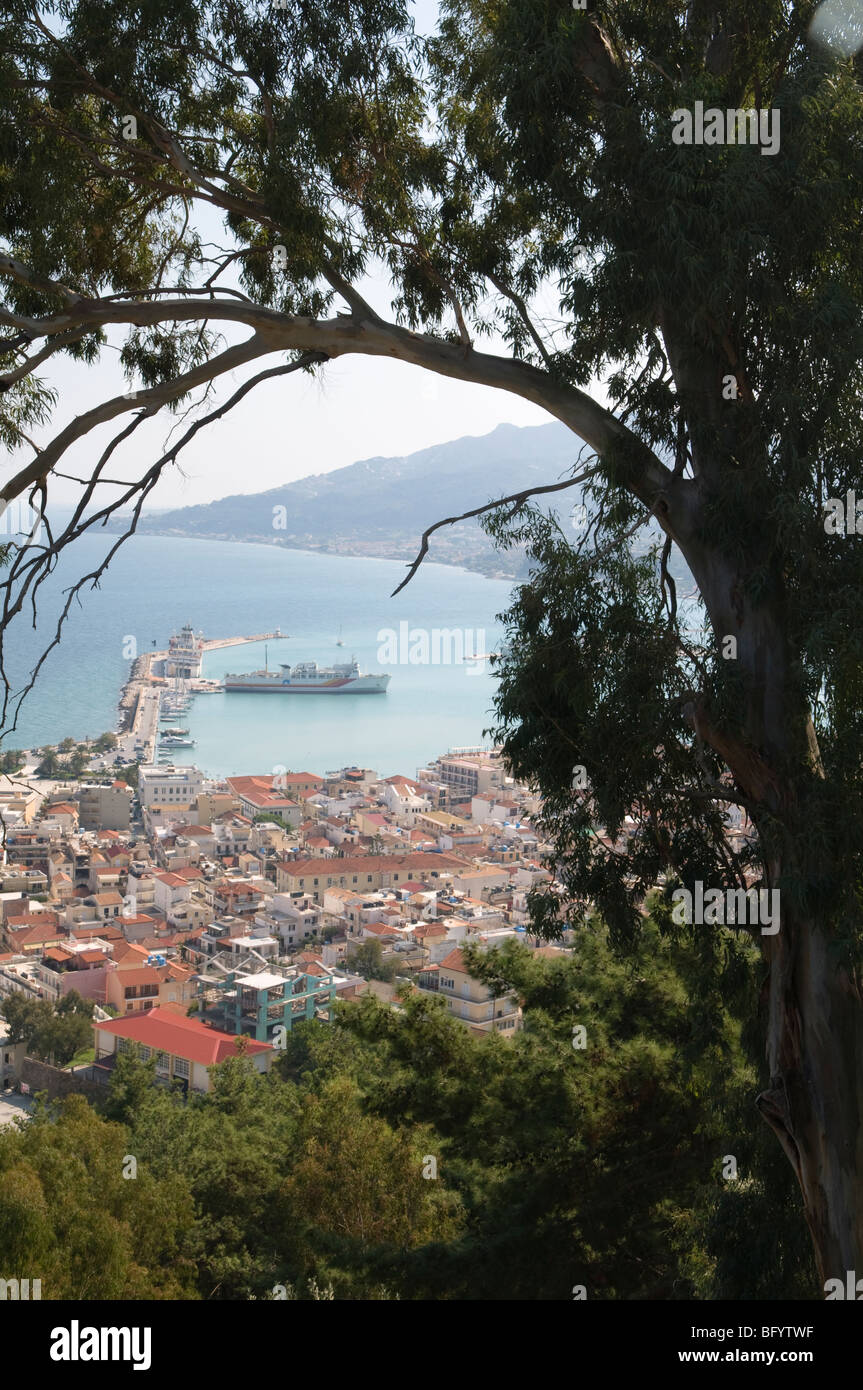 Greece. Zakynthos. Zante. Greek island. October. Zakinthos Town seen from the hill of Bochali. Stock Photo