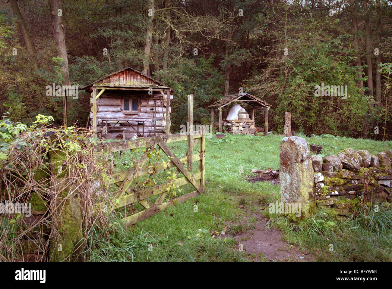 Log Cabin And Someting That Looks Like An Outdoor Pizza Oven On A Small  Allotment At Beeley On The Chatsworth Estate Derbyshire