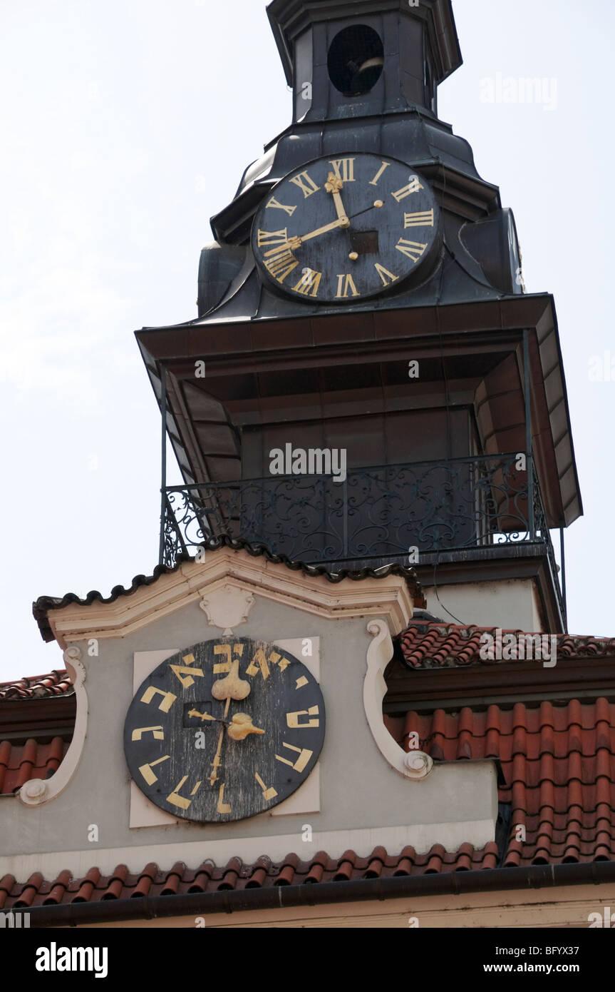 Prague, Czech Republic. Hebrew Clock of the Jewish Town Hall - Stock Image